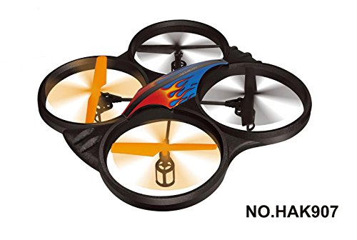 Haktoys® HAK907 17″ Diagonal 2.4GHz 4CH RC Quadcopter, 6 Axis Gyroscope, Rechargeable, Ready To Fly, Camera-Ready and with LED