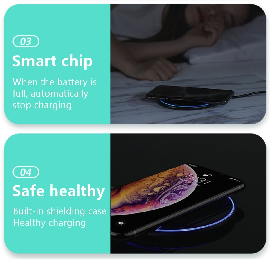 H2f4f2320217649da8e15e3edede41844u Fast Wireless Charger Pad for Iphone Qi Wireless Charging Stand for Android Phone Car Wireless Charger Auto