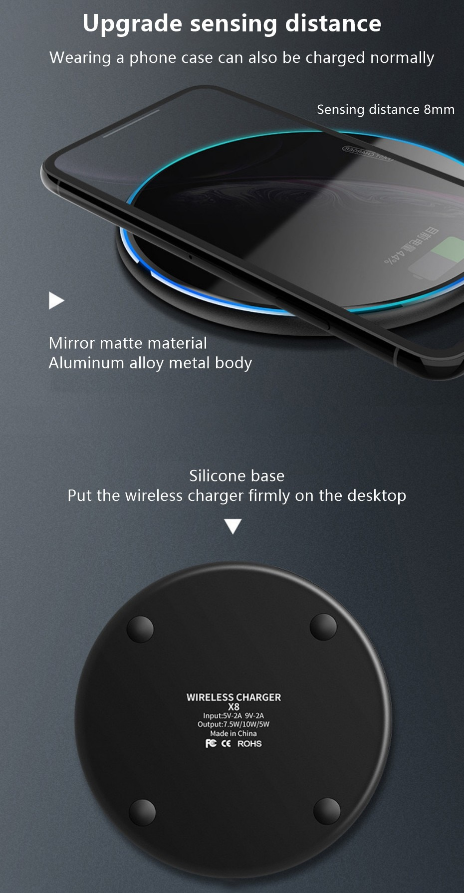 H56fdd3647f884e49a5590a3891e8e13c5 Fast Wireless Charger Pad for Iphone Qi Wireless Charging Stand for Android Phone Car Wireless Charger Auto