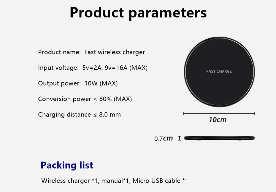 H7eb3f5fdac814ce1828a870632a03d8eR Fast Wireless Charger Pad for Iphone Qi Wireless Charging Stand for Android Phone Car Wireless Charger Auto